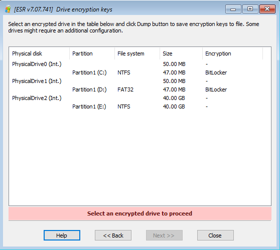 Elcomsoft System Recovery: selecting an encrypted drive