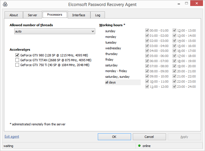 Elcomsoft Distributed Password Recovery configuring hardware utilization