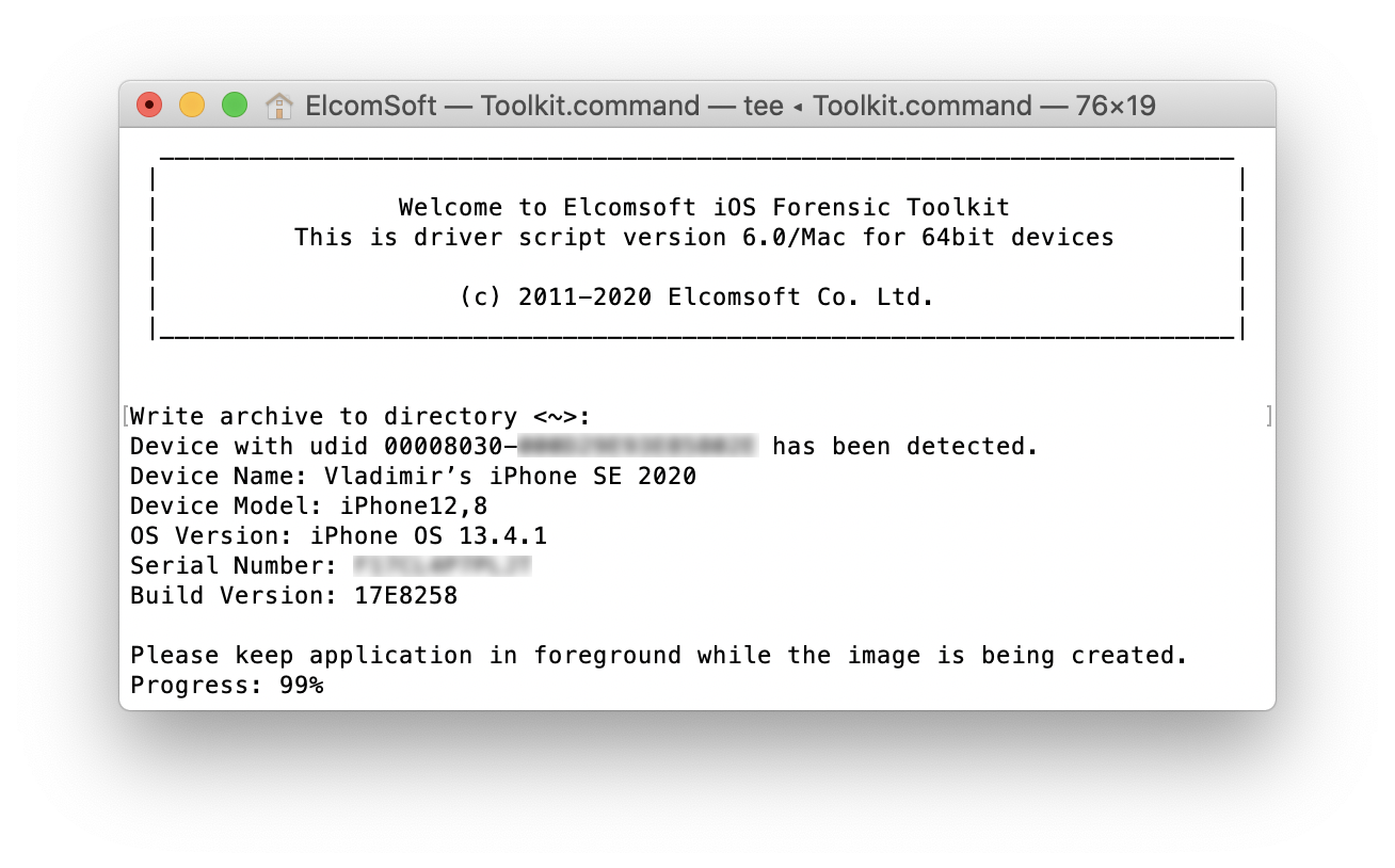 Elcomsoft iOS Forensic Toolkit: Full File System Extraction