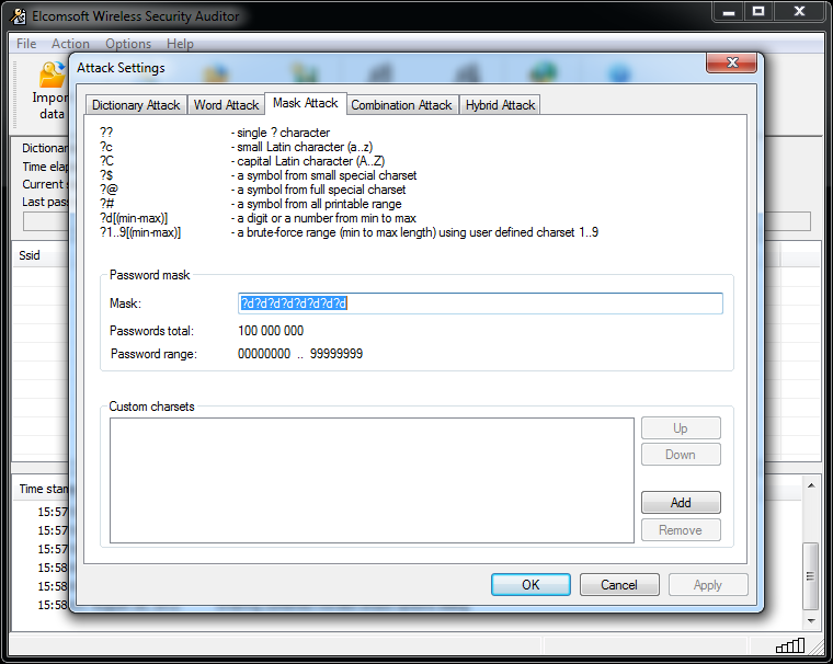 Elcomsoft Wireless Security Auditor specifying password mask