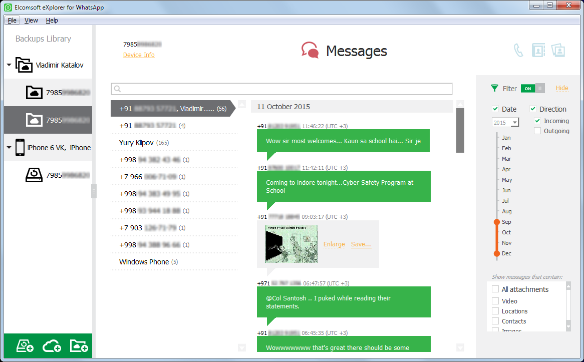 Elcomsoft Explorer for WhatsApp: Messages