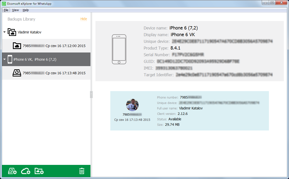 Elcomsoft Explorer for WhatsApp backup details